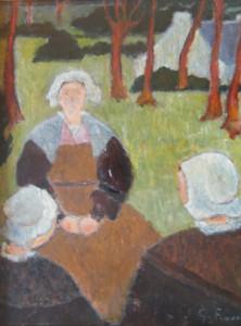 Georges RASETTI Bretonnes sous les arbres