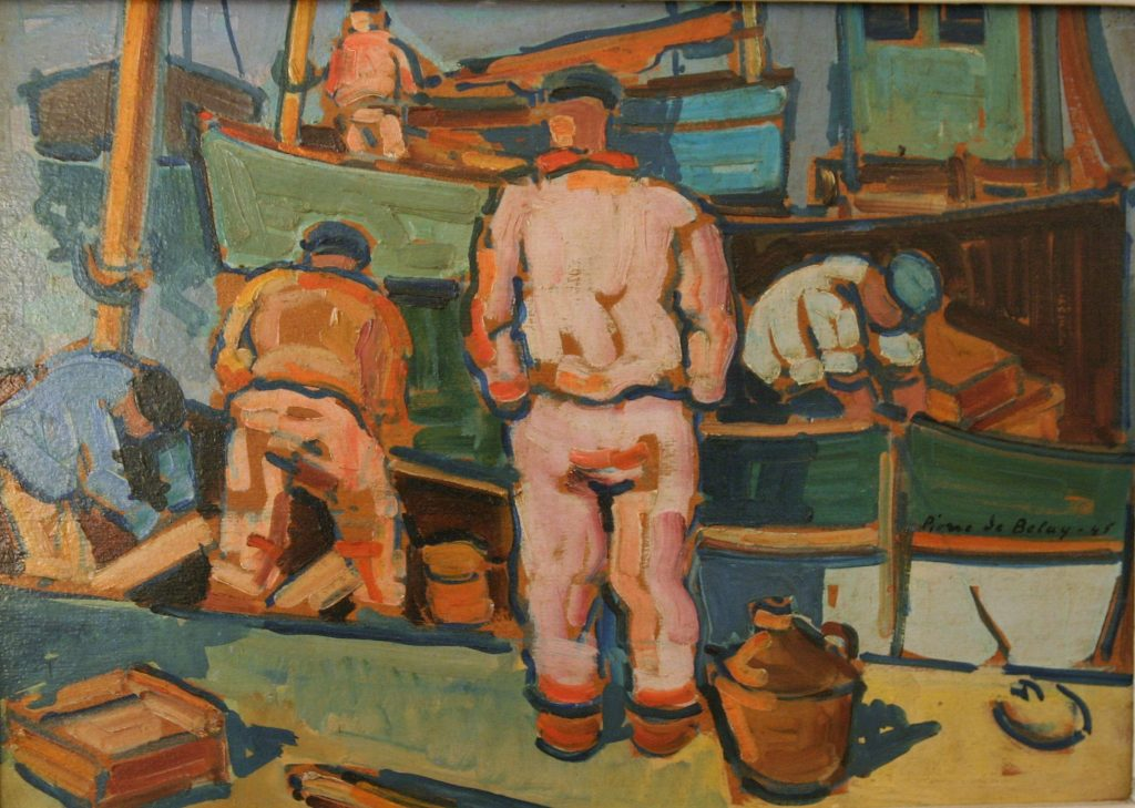 Pierre de Belay port animé pêcheurs bretons
