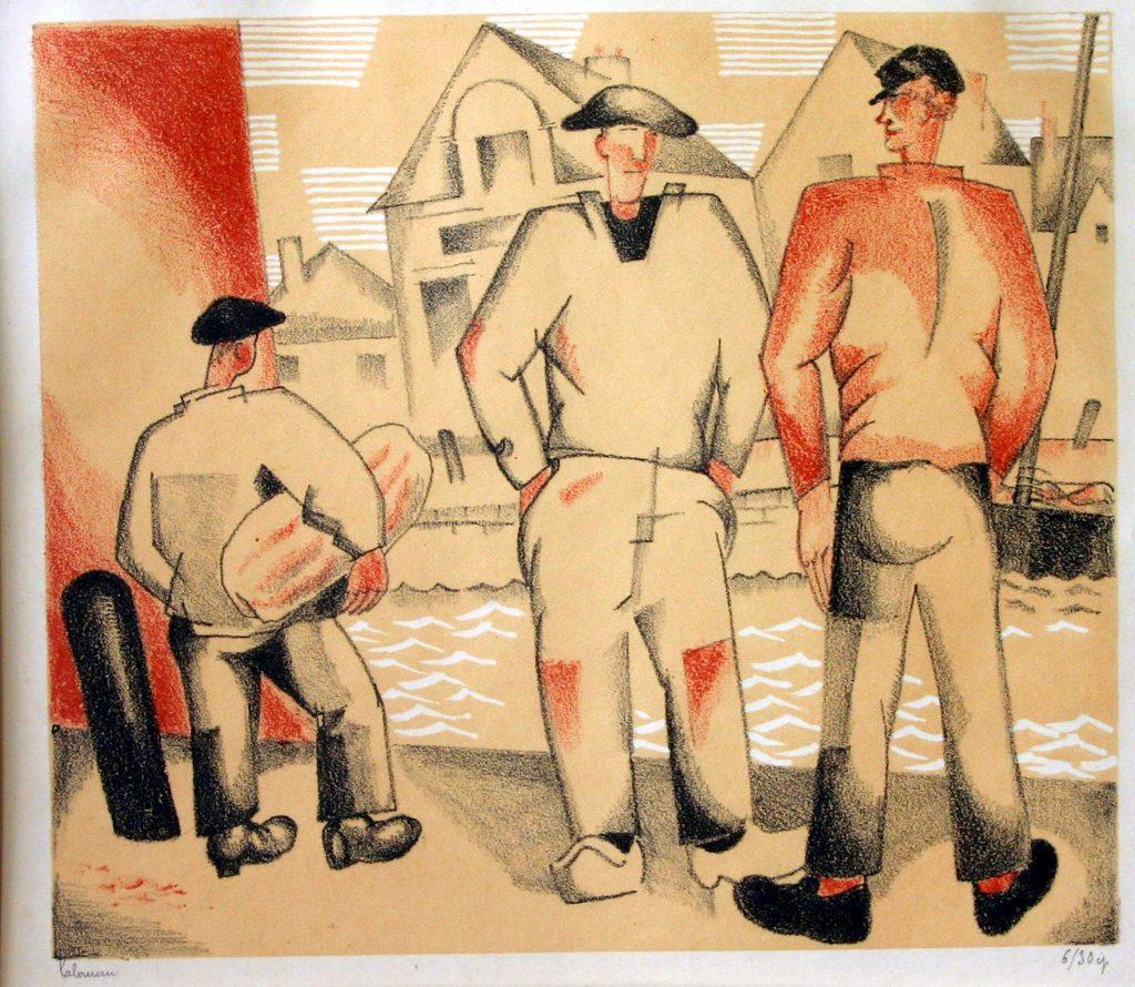 Jean-Emile Laboureur gravure sur bois en couleur Le Croisic